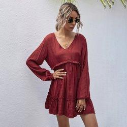 Une ligne Slanna col V taille haute taille rouge occasionnel Ruffles Plus Boho femmes Mini robe rouge