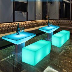 Table à café lumineux à LED Lampes de table Bar & KTV Décoration bar lumineux à LED rechargeable meubles avec 16 Changement de couleur RVB et Modèle à distance-B