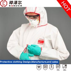 الإمدادات الصناعية بالمصنع حماية العزل الكلي من السلامة القابل للاستخدام مرة واحدة الملابس غير منسوجة الدرزات مغطاة