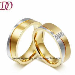 Chapado en oro de IP de la Banda de bodas pareja de hecho a mano Anillo Anillos Joyas CNC