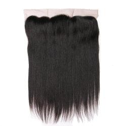 Haute qualité de l'Inde cheveux raides une oreille à la dentelle Fermeture Frontale 13X4 Partie libre de 130 % destin 10-18 pouces couleur naturelle des cheveux Remy