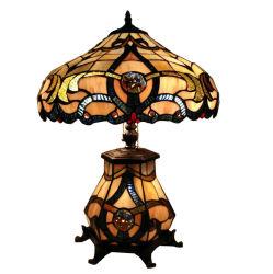 Тиффани настольные лампы в стиле викторианской Jeweled настольная лампа с цветочным орнаментом из витражного стекла декор Освещение с базы с подсветкой