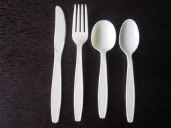 Talheres de plástico descartáveis, Garfo de plástico, faca, colher