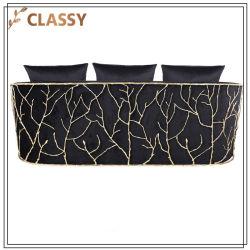 Modernes Schwarzes Veins Goldmetallwohnzimmer-Sofa