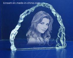 Cristal de esculpir a Laser Photo Frame Dom Aniversário
