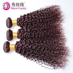 Vente chaude Bourgogne Rouge Tissage de cheveux humains indiens Kinky Curly vierge de l'Inde sèche