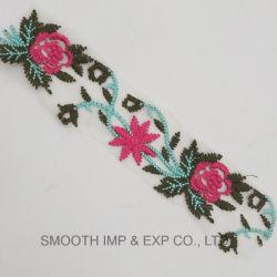 方法花の刺繍多色刷りポリエステルレースの綿織物の織物の衣服