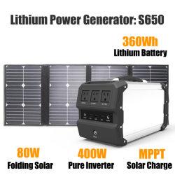 400 Вт портативный источник бесперебойного питания резервного копирования с 80W Складная солнечная панель