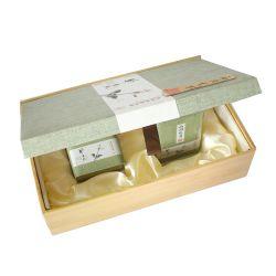 Venda por grosso de madeira especiais personalizados clamshell de papel de embalagem de chá com forro de seda