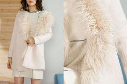 Senhoras Colar de peles casaco de inverno com revestimento de superfície de lã de algodão
