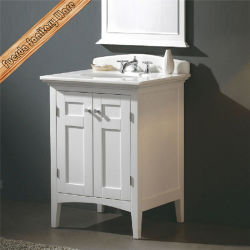 Fed-1900 年の普及した旧式な白い現代無垢材の浴室の虚栄心