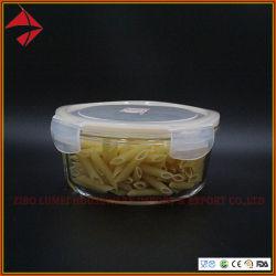 Seguro de microondas de alta redonda de Vidrio de borosilicato para almacenamiento de alimentos el recipiente con tapa Simple/ Ovenproof Fiambrera de vidrio