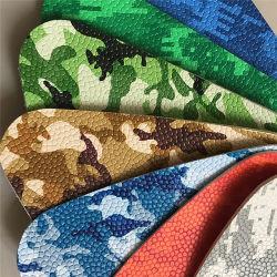 Camuflar o padrão de COA PVC elásticas/PU em couro sintético para o saco de calçado de desporto Ball