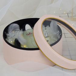 Rose ronde Boîte cadeau de papier personnalisés avec fenêtre Cap couvercle