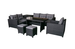 熱い販売の藤の柳細工の余暇の屋外の家具のアルミニウム食事のソファーは収納箱によってセットした