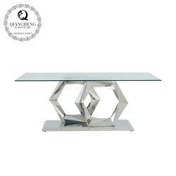 Sala de novo mobiliário moderno mobiliário de jantar de vidro temperado topo mesa de jantar