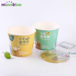 Eco descartáveis de papel Kraft taça de sopa/recipiente com tampa de PP
