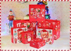 크리스마스 선물 가방 산타클로스 핸드백 아름다운 크리스마스 종이 가방 크고 작은 가방