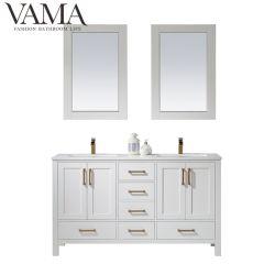 Vama 60 Zoll-weiße Möbel-doppelte Wannen-Badezimmer-Schrank-Badezimmer-Eitelkeiten 785060m