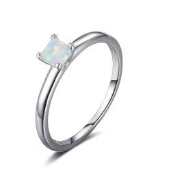 Opale simple anneau plaqué rhodium argent 925 Sterling Mode bijoux