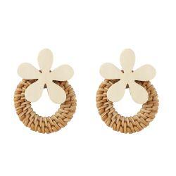 Nuevo diseño de moda joyas artesanales de madera de Corea el Medio Ambiente de la Flor de Caña de Bambú Shell Pearl earring para mujeres
