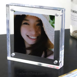 Desktop personalizado Dupla sem caixilho acrílico Magnético Photo Frame Oferta Promocional
