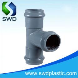 Conectores de tubos PVC União de junta de anel de borracha PVC com três Encaixe alimentação de fábrica Pn10 acoplamento de cotovelo em T equivalente UPVC de plástico