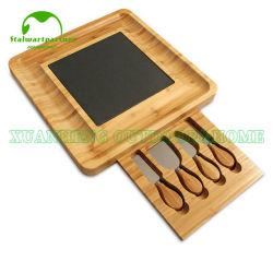 De vierkante Dik makende Grote 4PC Scherpe Raad van de Kaas van het Brood van het Bamboe van het Bestek die met Laden wordt geplaatst