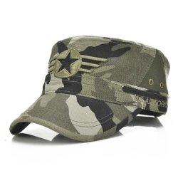 Custom Tapa Visor de la moda de algodón de alta calidad de camuflaje militar Cap sombrero con bordado plano