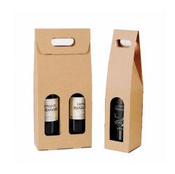Caixa de vinho tinto portátil de pacote de finalização única garrafa Saco de armazenamento de papel Kraft para festas de casamento favor