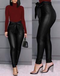 Las mujeres europeas y americanas de la moda de pantalones de cuero brillante PU Casual pantalones de cuero