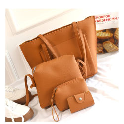 4pcs/Définir les femmes sac à main cuir synthétique Shoudler Casual sacs fourre-tout