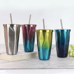 16oz coloré isolation sous vide en acier inoxydable forme en diamant tasse de café avec la paille