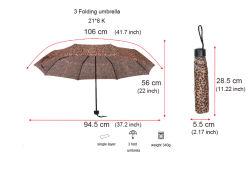 Hete Af:drukken 3 van de Luipaard van de Verkoop de Vouwende Paraplu van de Gift van de Paraplu van de Bevordering van de Paraplu van de Reclame van de Paraplu