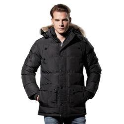 Moda Hombre Invierno caliente Collar de piel de espesor con capucha de algodón Parkas Mens caliente Casual abrigos chaquetas