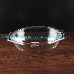Venda a quente caçarola de vidro oval com tampa de vidro 3000ml