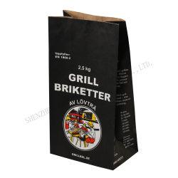도매 사용자 정의 로고 인쇄 이중 레이어 재활용 가능 음식 테이그 핸들이 없는 어웨이 식료품 파티 선물 크래프트 종이 가방