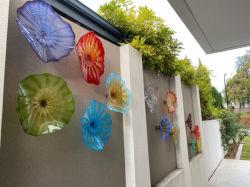 """26의 """" 정원 홈 장식을%s 벽 커튼 마운트에 손에 의하여 불어지는 훈장 예술 유리 접시"""