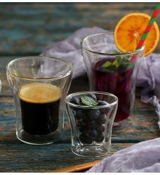 Hoher Borosilicat-Glas-doppel-wandiger Kaffee-trinkende Cup stellten ein