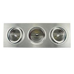 선반 알루미늄 3 단위 AR111 사각 경사 다중 각에 의하여 중단되는 LED 아래로 빛 (LT2307-3)