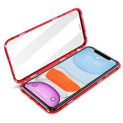 Venta caliente Protector de pantalla incorporada de adsorción de caja de Metal magnético para el iPhone 11/11/11 PRO MAX PRO Teléfono metálica cubierta con cristal en la parte frontal y posterior