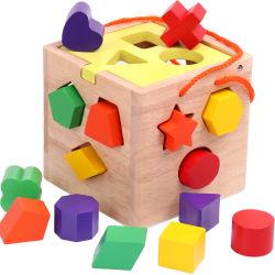 Novo chegar de forma Promocional Classificando Caixa de cubos de madeira formas inteligentes de cubos de triagem Puzzle Madeira Brinquedos de bloco