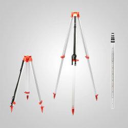 Het gloednieuwe Aluminium Tripod+5m van 1.65m Personeel van het Niveau van de Laser van 5 Secties het Korte en dikke voor het Roterende Niveau van de Laser