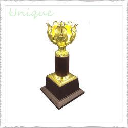 Cristallo all'ingrosso su ordinazione della flora del premio di sport del metallo della tazza della fabbrica + trofeo in lega di zinco di scacchi dell'argento dell'oro per il regalo promozionale