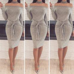 Хорошее качество оптовой Sexy off плеча платье женщины Sexy Fashion Club ремни женщин 2020 талии платье