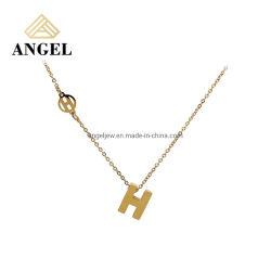 Neues Design Großhandel Mode Silber oder Messing Schmuck Alphabet Metall Anhänger 925 Silber Halskette Schmuck für Mädchen