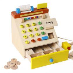 Los niños de madera de la caja registradora de la simulación educativos fingen los juguetes del juego del juego