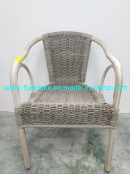 Mobilia esterna di alluminio rotonda della barra di hotel del rattan dei piedini del tubo del tripletto delle braccia del cerchio per pranzare insieme
