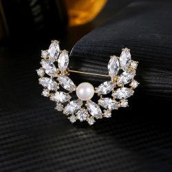 Commerce de gros Fashion Brooch bijoux avec Pearl shell &AAA CZ Hommes /Femmes Bijoux