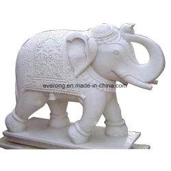 Marmorsteinskulptur-Tierstatue, weißer Elefant, der für Garten schnitzt